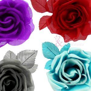 Rosa de seda 9 cm.