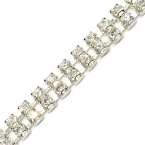 Galon double strass 5mm argent