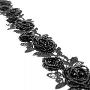 Guipure fleurs et pierres noir1