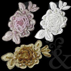 Aplicación flor perla rocalla 11x6 cm