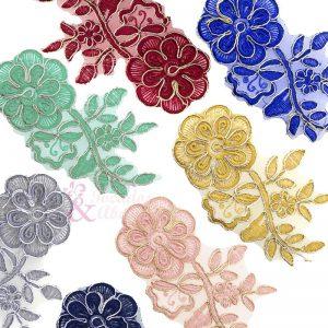 Aplicación lamé bordada flor con tallo