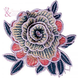 Aplique bordado Rosa 3D