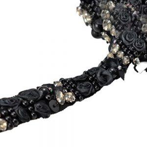 Galon fleur et cristal noir