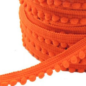 Galon pompons petits 1,2cm orange