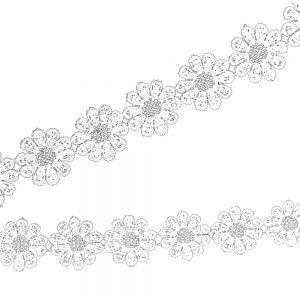 Guipure fleurs 2,5cm blanc
