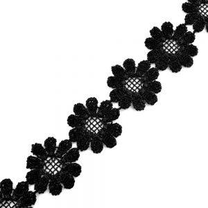 Guipure fleurs 2,5cm noir
