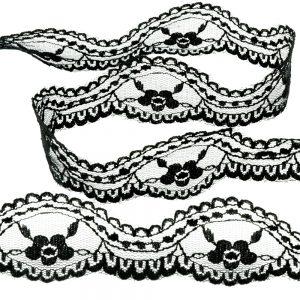 Ruban dentelle nylon 3,5cm noir