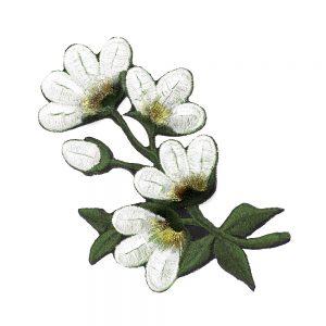 applique fleur brodee blanc