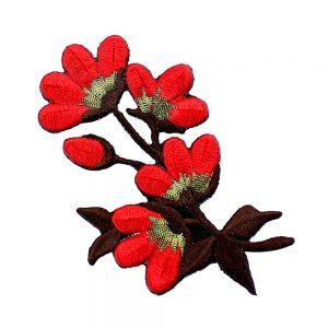 applique fleur brodee rouge