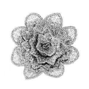 applique fleur dentelle gris argente