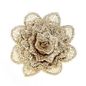 applique fleur dentelle or