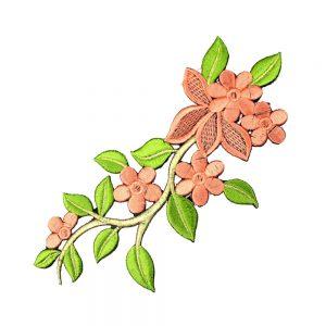branche fleur brodee saumon