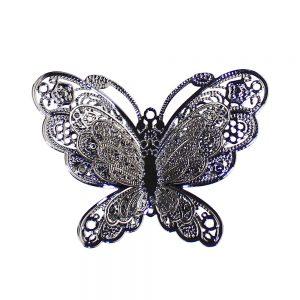 broche papillon metal gris taupe