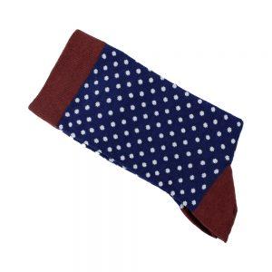chaussettes pois bleu marin