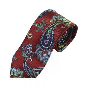 cravate alexander paisley grenat