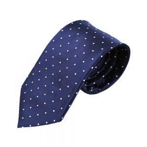 cravate armando pois bleu marin