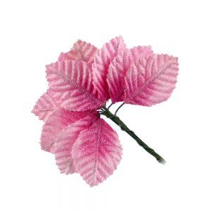 feuilles suedine 04X03cm rose