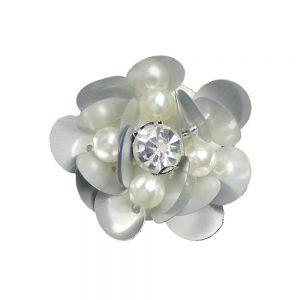 fleur paillette 03 cm blanc