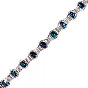 galon strass pierres bleu outremer