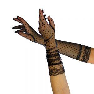 gants dentelle plumetis 45 cm noir