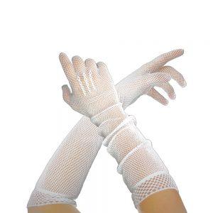 gants longs filet blanc
