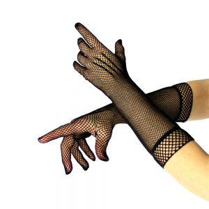 gants longs filet noir