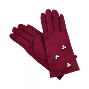 gants suedine perles grenat