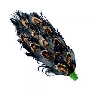 ornement plumes faisan strass noir