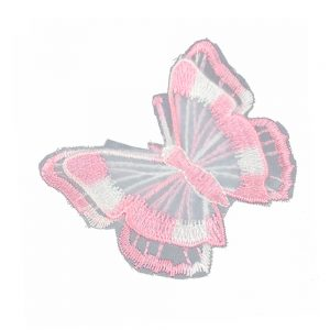 papillon brode tulle rose