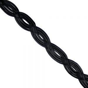 ruban satin vagues 4,5 cm noir