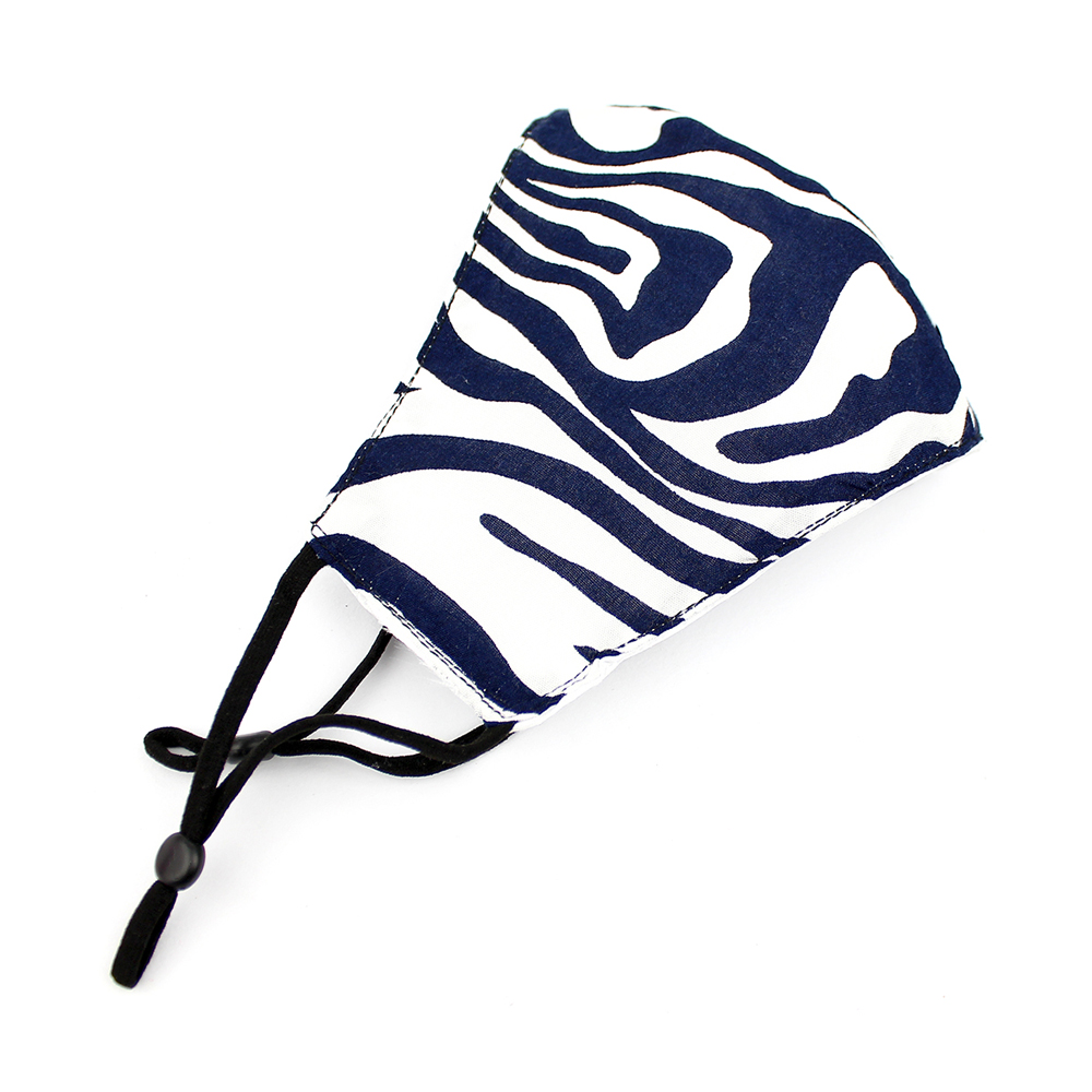 Mascarilla de tela simétrica estampado animal azul