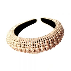 bandeau turban perle rose nude